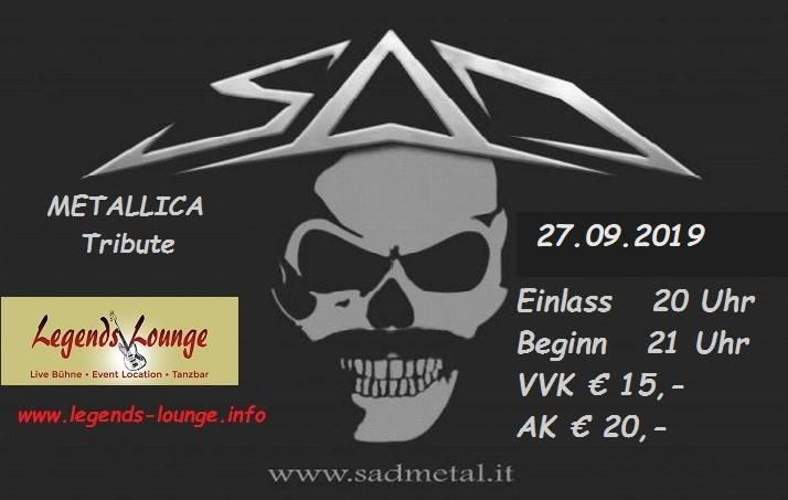 SAD-Metallica Tribute live at Legends Lounge